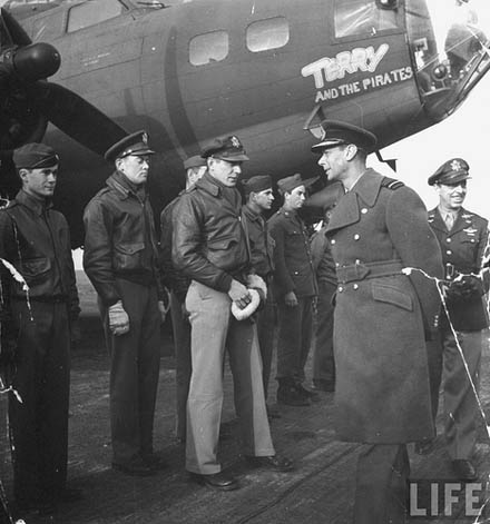 King George VI and Terry and the Pirates B-17 Bomber.
